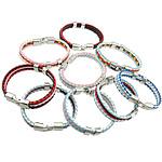 Cord Bracelets PU, Shape Tjera, ngjyrë platin praruar, 3-fije floku, ngjyra të përziera, 12mm, 7x13mm, 36x13mm, :9Inç, 30Fillesat/Shumë,  Shumë