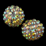 Harz Strass Perlen, Trommel, AB Farben platiniert, helles Rosa, 16x18mm, Bohrung:ca. 2.5mm, 100PCs/Tasche, verkauft von Tasche