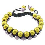 Glass Shamballa Bracelets, Glass Pearl, with Cord najlon, asnjë, dy-ton, asnjë, 15mm, 8mm, : 7-10Inç, 10Fillesat/Shumë,  Shumë