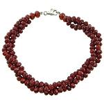 Bracelets Crystal, Kristal, Rondelle, ngjyrë platin praruar, 3-fije floku & faceted, rubin, 8mm, 4x3mm, :8Inç, 10Fillesat/Shumë,  Shumë
