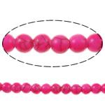 Bruz Beads, Bruz sintetike, Round, pikturë, Pink fuchsia, 8mm, : 1mm, : 15.7Inç, 54PC/Fije floku,  15.7Inç,