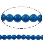 Bruz Beads, Bruz sintetike, Round, pikturë, blu, 8mm, : 1mm, : 15.7Inç, 54PC/Fije floku,  15.7Inç,