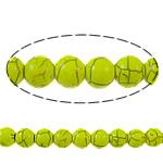 Bruz Beads, Bruz sintetike, Round, pikturë, i verdhë, 6mm, : 1mm, : 15Inç, 73PC/Fije floku,  15Inç,