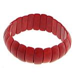 Fashion Bracelets Turquoise, Bruz sintetike, with Thread elastik, Shape Tjera, i lyer, asnjë, i kuq, 8x23x6mm, :8Inç, 20Fillesat/Shumë,  Shumë