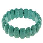 Fashion Bracelets Turquoise, Bruz sintetike, with Thread elastik, Shape Tjera, i lyer, asnjë, e gjelbër, 10x25x8mm, :8Inç, 20Fillesat/Shumë,  Shumë