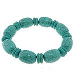 Fashion Bracelets Turquoise, Bruz sintetike, with Thread elastik, Shape Tjera, i lyer, asnjë, e gjelbër, 13x18mm,10x3mm, :7Inç, 20Fillesat/Shumë,  Shumë