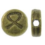 Beads aliazh zink Flat, Alloy zink, Round Flat, Ngjyra antike bronz i praruar, asnjë, asnjë, , nikel çojë \x26amp; kadmium falas, 6.50x7x2.50mm, : 1mm, 2500PC/KG,  KG