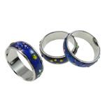Finger smalt Mood Ring, Tunxh, Shape Tjera, ngjyrë platin praruar, humor smalt, asnjë, , nikel çojë \x26amp; kadmium falas, 6mm, : 17mm, :6.5, 100PC/Qese,  Qese