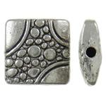 Zinklegierung flache Perlen, Quadrat, antik silberfarben plattiert, frei von Nickel, Blei & Kadmium, 11x11x3mm, Bohrung:ca. 1.5mm, ca. 585PCs/kg, verkauft von kg