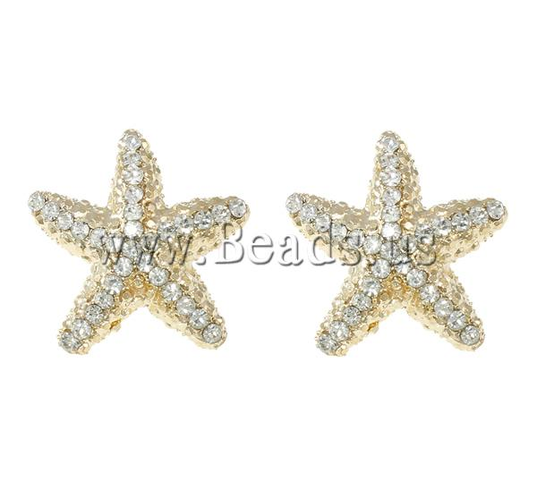 Zink legering stud earring starfish goud kleur plated met strass geen nikkel lood - Kleur schilderij zink ...
