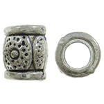 Beads Zink Alloy Tube, Alloy zink, Daulle, Ngjyra antike argjendi praruar, vrimë e madhe, asnjë, , nikel çojë \x26amp; kadmium falas, 8x9.5mm, : 4.5mm, 830PC/KG,  KG