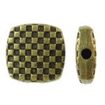 Beads aliazh zink Flat, Alloy zink, Katror, Ngjyra antike bronz i praruar, asnjë, asnjë, , nikel çojë \x26amp; kadmium falas, 10x10x3.50mm, : 1mm, 830PC/KG,  KG