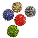 Rhinestone Clay Pave Beads, Round shape, with approx 54pcs A grade rhinestone, more colors for choice, shamballa beads style, PP15,10mm, Hole:Approx 2MM, Sold by PC