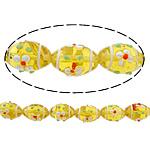 Beads Lampwork me gunga, Oval, asnjë, i verdhë, 20x15mm, : 2mm, :11Inç, 10Fillesat/Shumë,  Shumë