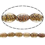 Inner Beads Lampwork Twist, Oval, asnjë, kthesë brendshme, portokall, 16x11mm, : 2mm, :11Inç, 5Fillesat/Shumë,  Shumë