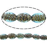Inner Beads Lampwork Twist, Oval, asnjë, kthesë brendshme, dritë blu, 16x11mm, : 2mm, : 11Inç, 5Fillesat/Shumë,  Shumë
