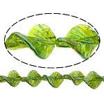 Beads praruar Lampwork, Gjethe, colorful kromuar, asnjë, e gjelbër, 33x25x8mm, : 3mm, :11Inç, 2Fillesat/Shumë,  Shumë