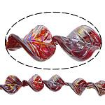 Beads praruar Lampwork, Gjethe, colorful kromuar, asnjë, i kuq, 33x25x8mm, : 3mm, :11Inç, 2Fillesat/Shumë,  Shumë