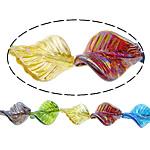 Beads praruar Lampwork, Gjethe, colorful kromuar, asnjë, ngjyra të përziera, 33x25x8mm, : 3mm, :11Inç, 2Fillesat/Shumë,  Shumë
