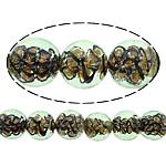 Inner Beads Lampwork Twist, Round, asnjë, kthesë brendshme, drita e gjelbër, 12mm, : 1mm, :10Inç, 5Fillesat/Shumë,  Shumë