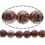 Inner Beads Lampwork Twist, Round, asnjë, kthesë brendshme, fuchsia, 12mm, : 1mm, :10Inç, 5Fillesat/Shumë,  Shumë