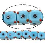 Beads Lampwork me gunga, Kub, asnjë, blu, 12x16x16mm, : 2mm, :10Inç, 5Fillesat/Shumë,  Shumë