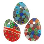 Lampwork Millefiori Fetë Pendants, Lot, punuar me dorë, me fetë Millefiori, ngjyra të përziera, 35x48x8mm, : 6mm, 50PC/Qese,  Qese