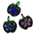 Pendants Inner Lampwork Lule, Mollë, punuar me dorë, lule e brendshme, ngjyra të përziera, 32x35x14mm, : 7x6mm, 12PC/Kuti,  Kuti