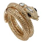 Zink Alloy kyç i dorës bizhuteri, Alloy zink, Gjarpër, ngjyrë ari praruar, me diamant i rremë, asnjë, , nikel çojë \x26amp; kadmium falas, 75x71x40mm, : 6.5Inç, 5PC/Qese,  Qese