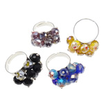 Ring Finger Crystal, Hekur, with Kristal, Shape Tjera, ngjyrë platin praruar, colorful kromuar, ngjyra të përziera, , nikel çojë \x26amp; kadmium falas, 27x32x18mm, :7.5, 50PC/Kuti,  Kuti