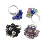 Ring Finger Crystal, Hekur, with Kristal, Shape Tjera, ngjyrë platin praruar, colorful kromuar, ngjyra të përziera, , nikel çojë \x26amp; kadmium falas, 29x35x26.50mm, :7.5, 50PC/Kuti,  Kuti