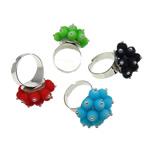 Ring Finger bizhuteri, Hekur, Shape Tjera, ngjyrë platin praruar, asnjë, ngjyra të përziera, , nikel çojë \x26amp; kadmium falas, 26x35x26mm, :7.5, 100PC/Kuti,  Kuti
