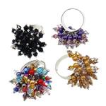 Ring Finger Crystal, Hekur, with Kristal & Xham, Shape Tjera, ngjyrë platin praruar, colorful kromuar, ngjyra të përziera, , nikel çojë \x26amp; kadmium falas, 33x34x27mm, :7.5, 100PC/Kuti,  Kuti