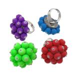 Ring Finger bizhuteri, Hekur, Shape Tjera, ngjyrë platin praruar, ngjyra të përziera, , nikel çojë \x26amp; kadmium falas, 34x38x35mm, :7.5, 50PC/Kuti,  Kuti
