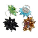 Ring Finger Crystal, Hekur, with Kristal & Alumin, Shape Tjera, ngjyrë platin praruar, colorful kromuar, ngjyra të përziera, , nikel çojë \x26amp; kadmium falas, 44x37x44mm, : 4.5mm, :7.5, 50PC/Kuti,  Kuti