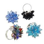 Ring Finger Crystal, Hekur, Shape Tjera, ngjyrë platin praruar, asnjë, ngjyra të përziera, , nikel çojë \x26amp; kadmium falas, 31x36.50x31mm, :7.5, 50PC/Kuti,  Kuti