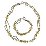 Sets bizhuteri kristal, with Pearl kulturuar ujërave të ëmbla & Seed Glass Beads, Shape Tjera, asnjë, asnjë, Medium Topaz, 24x2mm, 4-5mm, :7Inç,  18.5Inç,  I vendosur