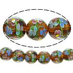 Beads dorë Lampwork, Round, asnjë, asnjë, bojë kafe, 14mm, : 2mm, :10Inç, 5Fillesat/Shumë,  Shumë