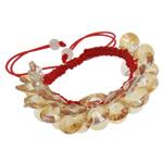 Crystal Shamballa Bracelets, Kristal, Shape Tjera, colorful kromuar, i tejdukshëm, Champagne Gold, 10x5mm, :7.5Inç, 12Fillesat/Qese,  Qese