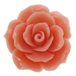 Flower Resin Beads, Lt Red, layered, carved, half drilled, more colors for choice, 24x13mm, Hole:Approx 1MM, Sold by PC