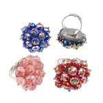 Ring Finger Crystal, Hekur, Shape Tjera, ngjyrë platin praruar, asnjë, ngjyra të përziera, , nikel çojë \x26amp; kadmium falas, 30x36x32mm, :7.5, 50PC/Kuti,  Kuti