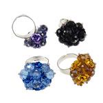 Ring Finger Crystal, Hekur, Shape Tjera, ngjyrë platin praruar, asnjë, ngjyra të përziera, , nikel çojë \x26amp; kadmium falas, 26x36x26mm, :7.5, 50PC/Kuti,  Kuti