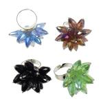 Ring Finger Crystal, Hekur, Shape Tjera, ngjyrë platin praruar, asnjë, ngjyra të përziera, , nikel çojë \x26amp; kadmium falas, 37x41.50x38mm, :7.5, 50PC/Kuti,  Kuti