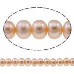 Button Beads ujërave të ëmbla kulturuar Pearl, Pearl kulturuar ujërave të ëmbla, Buton, natyror, rozë, 6-7mm, : 0.8-1mm, : 15.3Inç,  15.3Inç,