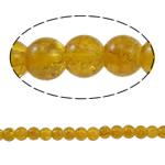 Glass Beads kërcitje, Xham, Round, asnjë, i verdhë, 6mm, : 1mm, : 31.4Inç, 10Fillesat/Qese,  Qese