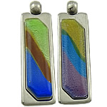 Pendants Silver Lampwork petë, Drejtkëndësh, ngjyrë platin praruar, petë argjendi, ngjyra të përziera, 63x19x9mm, : 5mm, 20PC/Shumë,  Shumë
