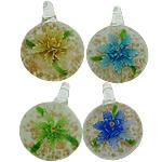 Pendants Inner Lampwork Lule, Round Flat, asnjë, lule e brendshme, ngjyra të përziera, 32x35x11.50mm, : 6.5mm, 50PC/Shumë,  Shumë