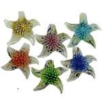 Pendants Inner Lampwork Lule, Yll deti, asnjë, lule e brendshme, ngjyra të përziera, 50x47x13mm, : 7.5mm, 20PC/Shumë,  Shumë