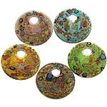 Lampwork Millefiori Fetë Pendants, Monedhë, asnjë, me fetë Millefiori, ngjyra të përziera, 51x51x10.50mm, : 11.5mm, 50PC/Shumë,  Shumë