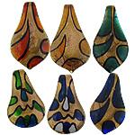 Rërë Pendants Gold Lampwork, Lot, asnjë, rërë ari, ngjyra të përziera, 31x61x8mm, : 7.5mm, 50PC/Shumë,  Shumë